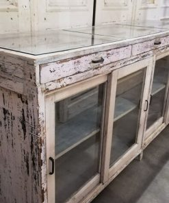Antique White Low Display Case Cupboard / Counter-3
