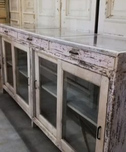 Antique White Low Display Case Cupboard / Counter-4