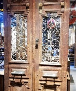 Antique Wrought Iron Decorated Exterior Doors-1