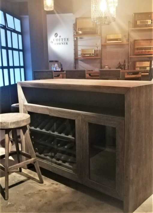 Grey Acacia Wooden Bar Table / Cabinet-1