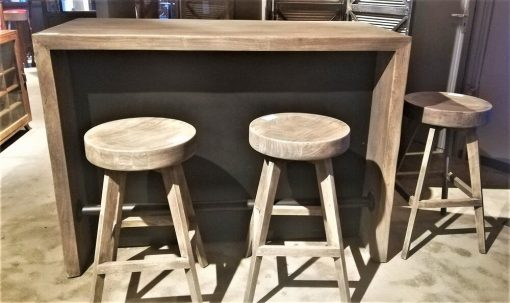 Grey Acacia Wooden Bar Table / Cabinet-5