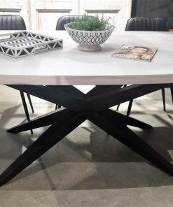 Sleek White Acacia Table With Metal Leg-1