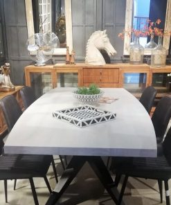 Sleek White Acacia Table With Metal Leg-2