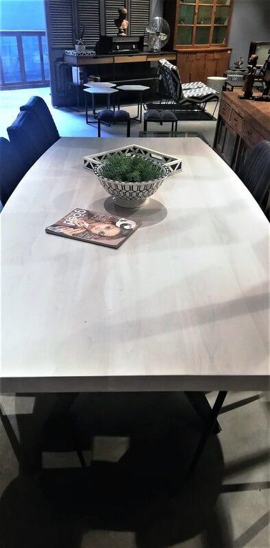 Sleek White Acacia Table With Metal Leg-3