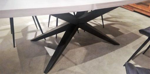 Sleek White Acacia Table With Metal Leg-4