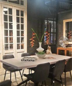 Sleek White Acacia Table With Metal Leg-5