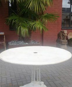 White Round Iron Bistro Table-1