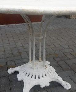 White Round Iron Bistro Table-2