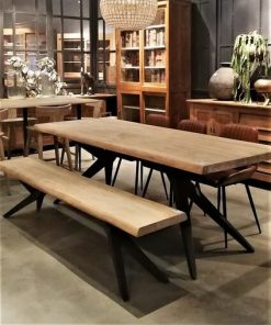 Sleek Acacia Dining Table With Matching Bench-1