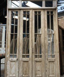 Antieke oranjerie deur met spiegels vz