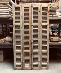 Antieke set louvre luiken / deuren ca 205×95 cm va